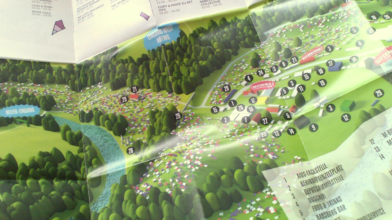 Geländeplan im Flyer für OpenAir SG